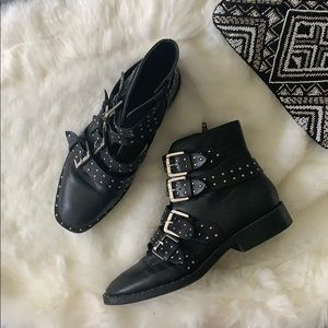 Strappy + Studded Moto Boots - Vegan Leather